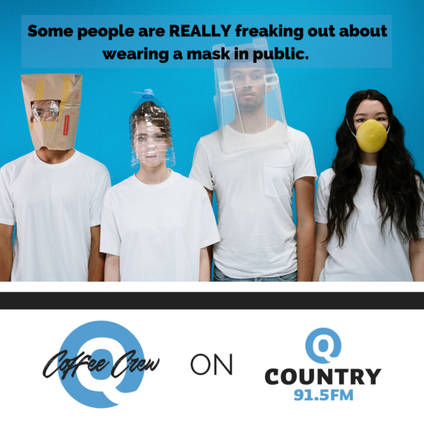 Several people wearing home made masks.